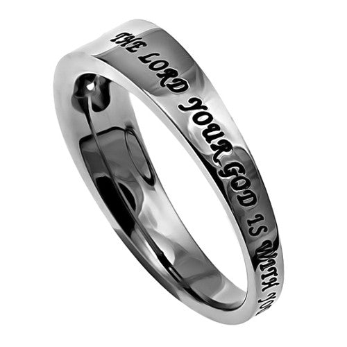Joshua 1:9 Ring Encouraging Jewelry Bible Verse, Stainless Steel