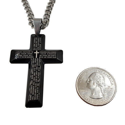 Lord's Prayer Cross Necklace Black on Stainless Steel Curb Chain