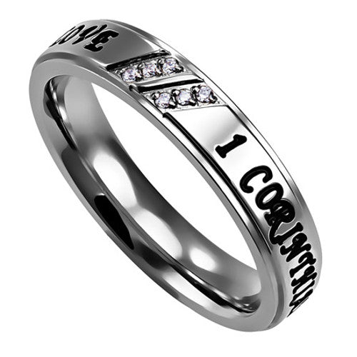Love Hope Faith Religious Scripture Ring