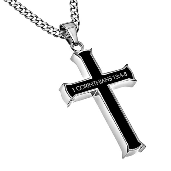 1 Corinthians 13:4-8 Black Cross Necklace LOVE IS Bible Verse, Stainless Steel Thick Chain