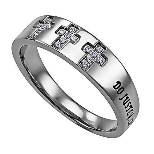 Love Mercy Cross Ring