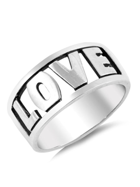 Love Word Ring Cutout Sterling Silver
