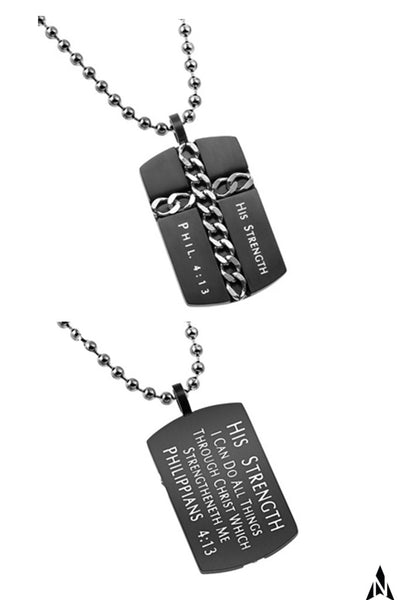 Christian Dog Tag Cross Necklace, Philippians 4:13 HIS STRENGTH, Steel Ball Chain