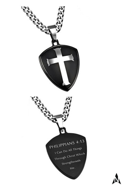 Shield of Faith Philippians 4:13 Necklace CHRIST MY STRENGTH Bible Verse, Steel Curb