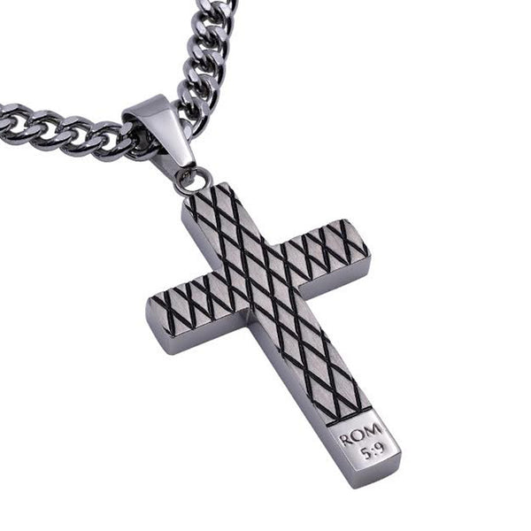 Romans 5:9 Blood Cross Necklace