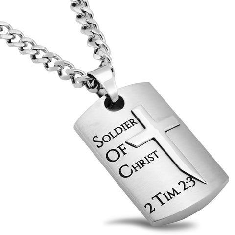 Dog Chain Cross Necklace 2 Timothy 2:3 Bible Verse