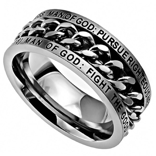 Man of God Ring 1 Timothy 6 Bible Verse, Stainless Steel Spinner
