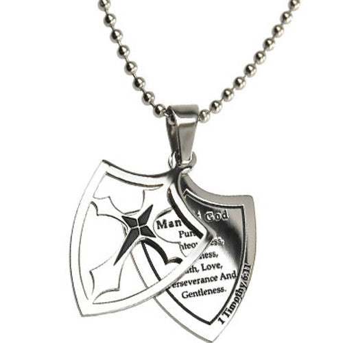 Man of God Necklace Two Piece Cross Shield with Bible Verse, Stainless Steel Ball Chain