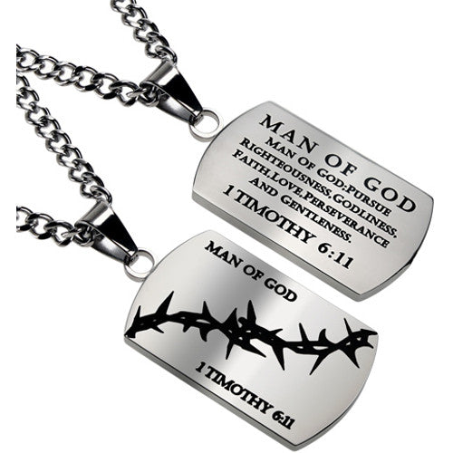 Man of God Dog Tag Crown of Thorns