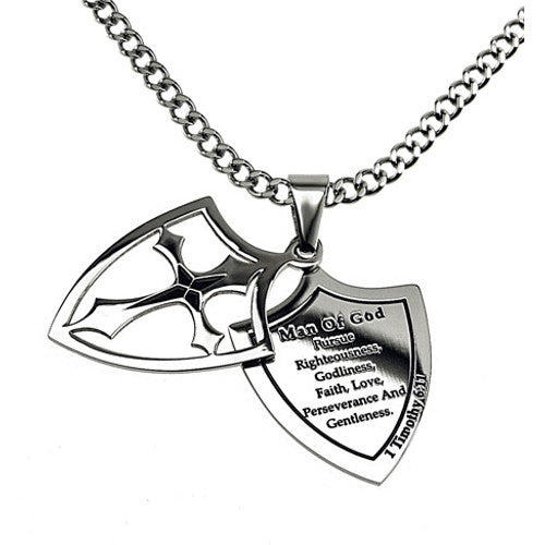 Man of God Necklace Two Piece Cross Shield with Bible Verse, Stainless Steel Curb Chain
