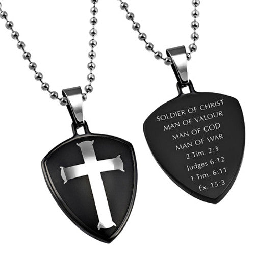 Man of God Cross Shield Necklace