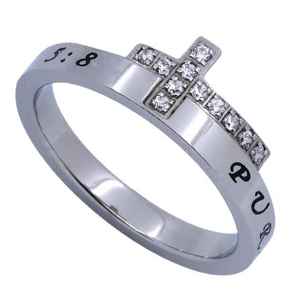 PURITY Engraved Bible Verse Sideways Cross Ring with CZ, Stainless Steel
