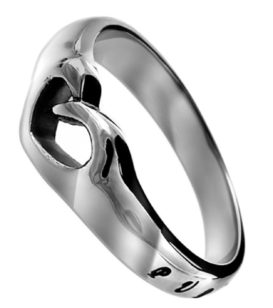 Matthew 5:8 Heart Cut Out Ring, Purity Bible Verse, Stainless Steel
