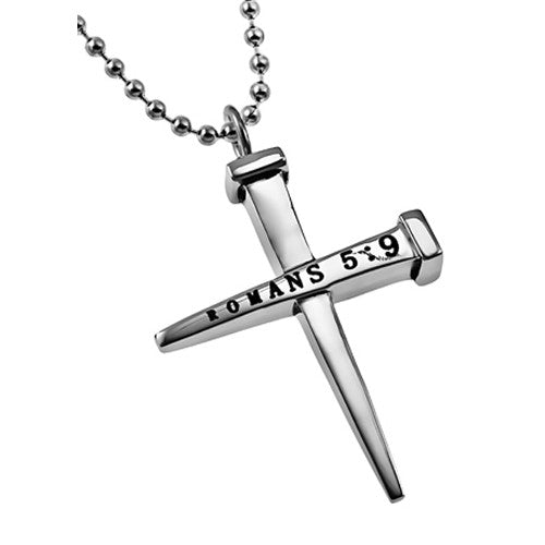 Nail Cross Necklace Forgiven Jewelry Romans 5:9