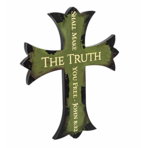 Ornamental Wall Cross The Truth Green