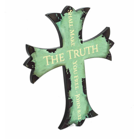 Ornamental Wall Cross The Truth Hand Painted