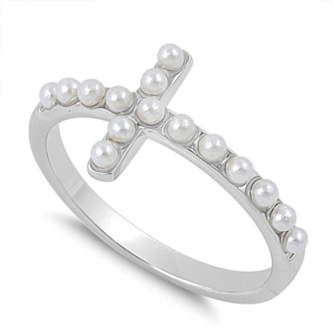 Pearl Cross Ring Sterling Silver