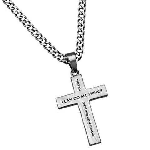 Phil 4 13 I Can Do All Things Through Christ Simple Cross Necklace