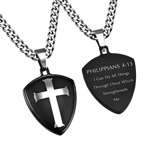 Philippians 4:13 Necklace Cross Shield
