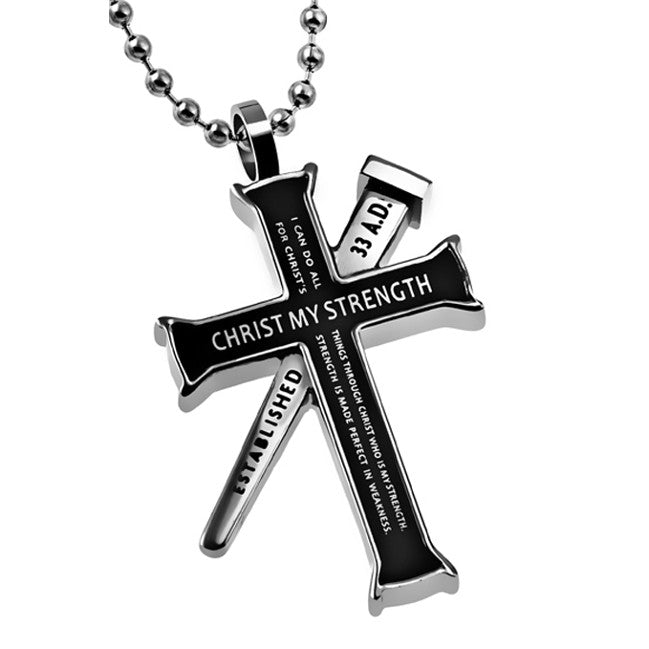 Philippians 4:13 Black Cross and Nail Necklace
