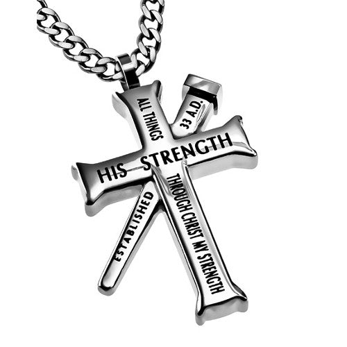 Philippians 4:13 Cross and Nail Chain Necklace
