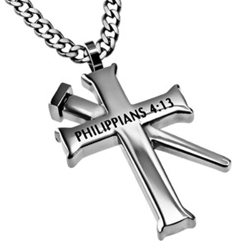 Philippians 4 13 Cross and Nail Chain Pendant
