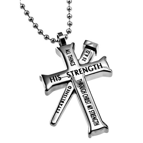 Philippians 4:13 Cross And Nail Necklace