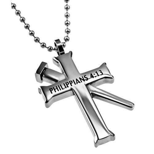 Philippians 4:13 Cross And Nail Chain Pendant