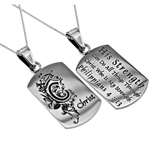 "Women's Monogram ""C"" Christian Dog Tag, Philippians 4:13 CHRIST, Stainless Steel Chain"