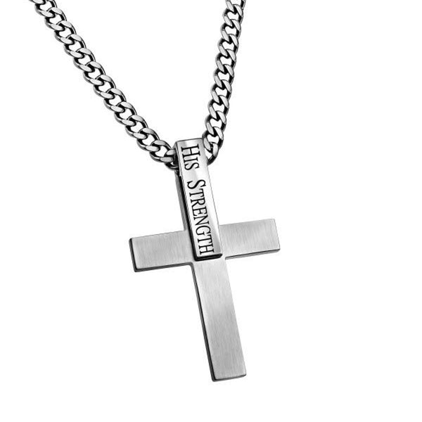 Philippians 4:13 Sterling Silver Cross Necklace For Men
