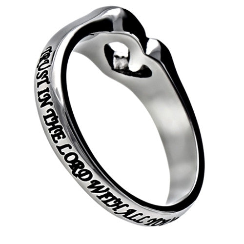 Proverbs 3:5 Heart Cut Out Ring