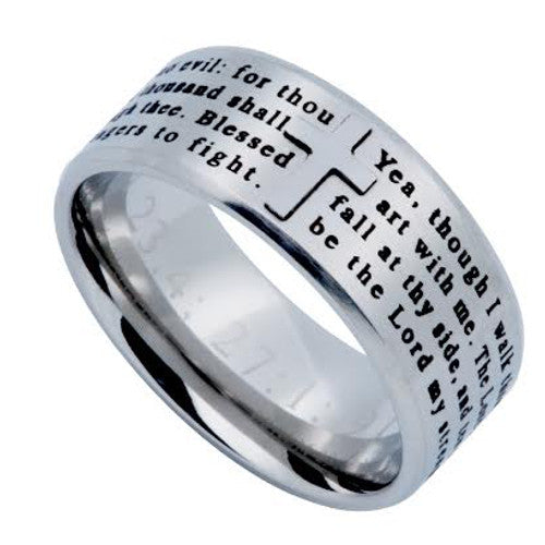 Psalm 23:4 Cross Ring For Men