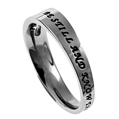 Psalm 46:10 Ring Be Still and Know that I am God, Stainless Steel with Cut Out Cross