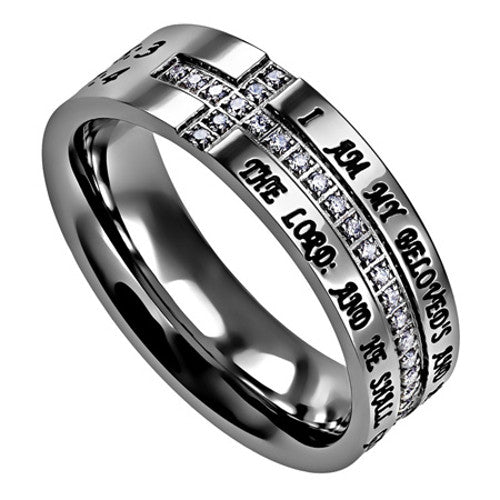 i am my beloved promise side cross ring with engraved bible verse  u0026 cz stones  u2013 north arrow shop