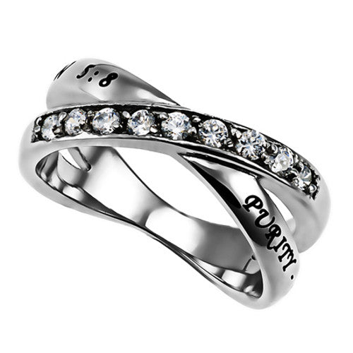 Purity Ring for Girls, Criss Cross Band with Bible Verse and CZ Stones