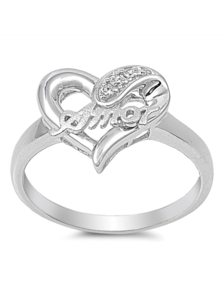 Amor Heart Sterling Silver Ring