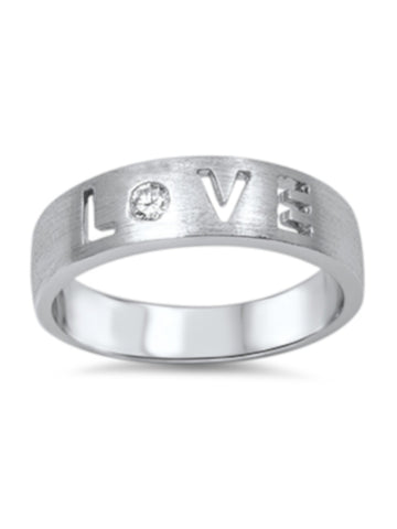 Thick Band Cut Out LOVE Sterling Silver Ring, Girlfriend, Mother And Sister Gift With Box