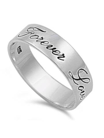 Forever Love Thick Band 925 Sterling Silver Ring, Comfort Fit Design With FREE Gift Box