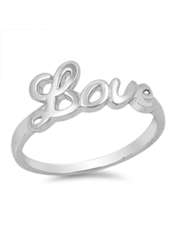 24626c5309 Simple Thin Band LOVE Cursive 925 Sterling Silver Ring, With FREE ...