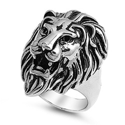Steel Lion's Head Ring, Encouraging Jewelry with Gift Box