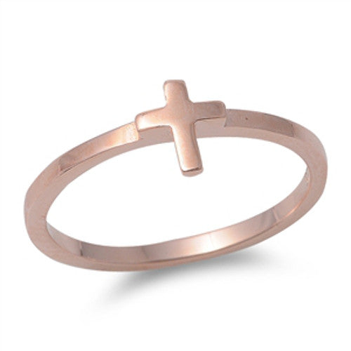 Rose Gold Plated Cross Ring