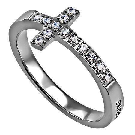 SAVED BY GRACE Ring Bible Verse, Sideways Cross Stainless Steel with Clear CZ Stones