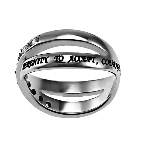 SERENITY Ring, Bible Verse, Criss Cross Stainless Steel with Clear CZ