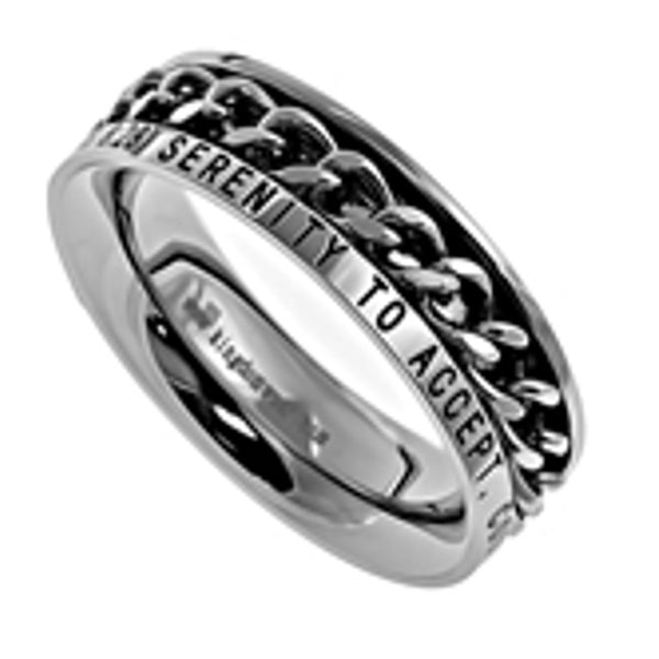 SERENITY Romans 8:28 Christian Women Chain Ring, Stainless Steel