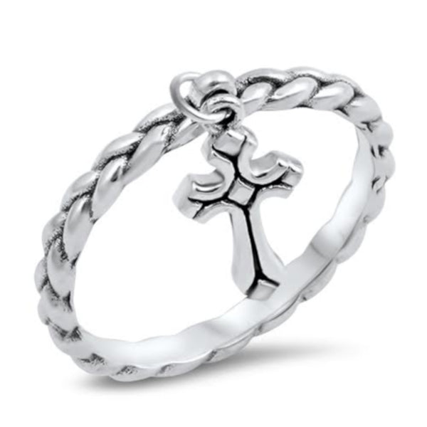Silver Dangling Cross Ring