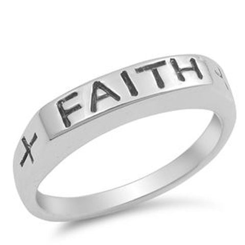 Silver FAITH Cross Ring
