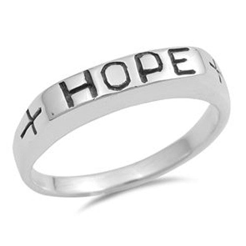 Silver HOPE Cross Ring