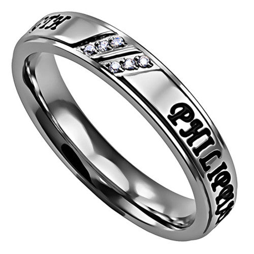 Silver Inspirational Phil 4:13 Ring