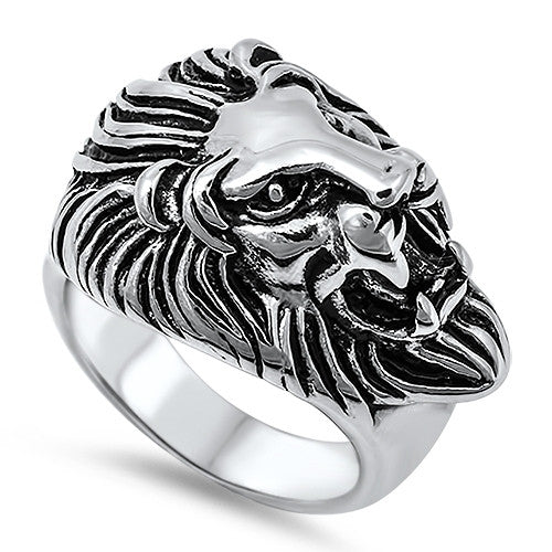Steel Lion Ring for Men, COURAGE Symbol with Gift Box