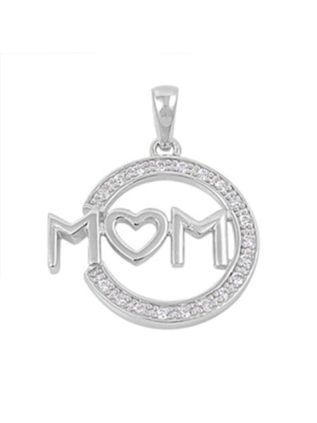 Silver Mom Necklace with Heart